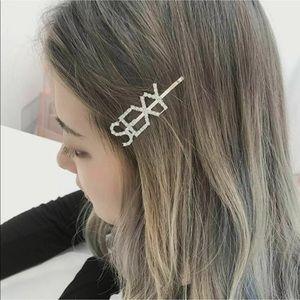 RHINESTONE Hairpin WORDS Barrette Hair Clip